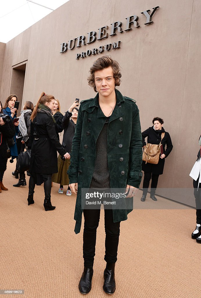 <a gi-track='captionPersonalityLinkClicked' href=/galleries/search?phrase=Harry+Styles&family=editorial&specificpeople=7229830 ng-click='$event.stopPropagation()'>Harry Styles</a> arrives at Burberry Womenswear Autumn/Winter 2014 at Kensington Gardens on February 17, 2014 in London, England.