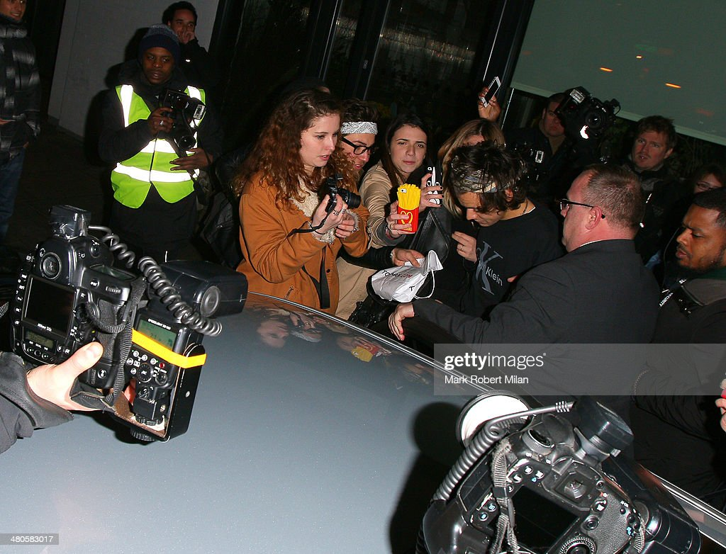Harry Styles arrives at Lou Teasdale The Craft book launch party held at The Ace Hotel Shoreditch on March 25, 2014 in London, England.