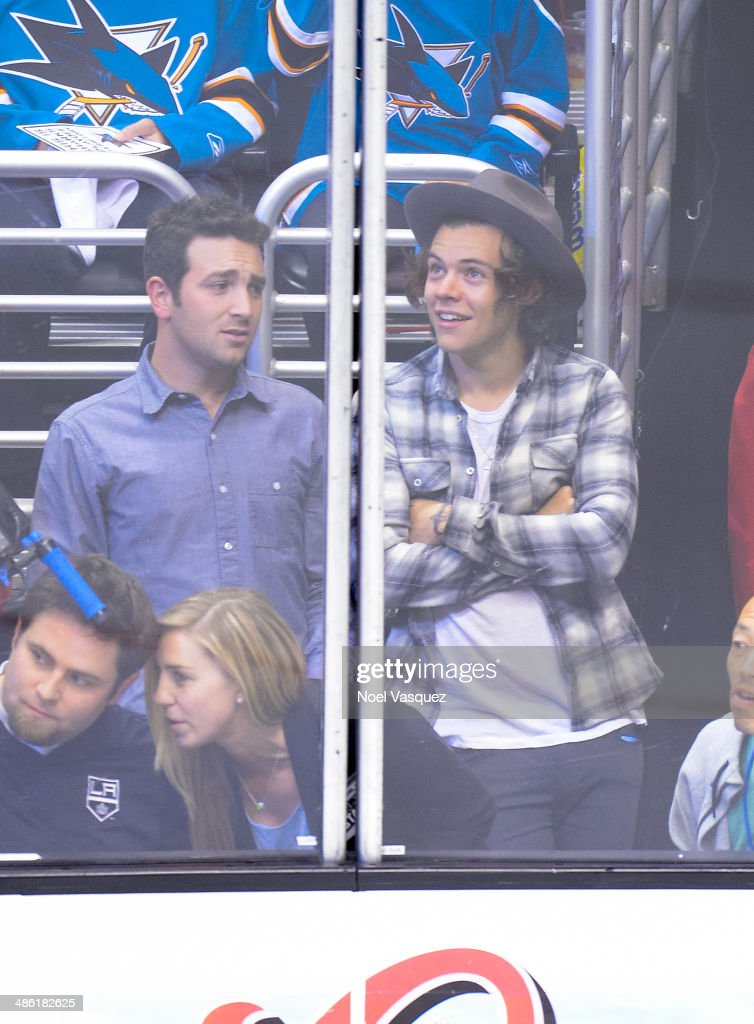 <a gi-track='captionPersonalityLinkClicked' href=/galleries/search?phrase=Harry+Styles&family=editorial&specificpeople=7229830 ng-click='$event.stopPropagation()'>Harry Styles</a> attends a NHL playoff game between the San Jose Sharks and the Los Angeles Kings at Staples Center on April 22, 2014 in Los Angeles, California.