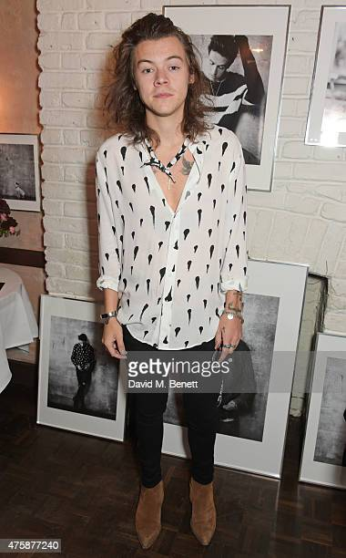 Harry Styles attends a private dinner celebrating the launch of the Nick Grimshaw for TOPMAN collection at Odette's Primrose Hill on June 4 2015 in...