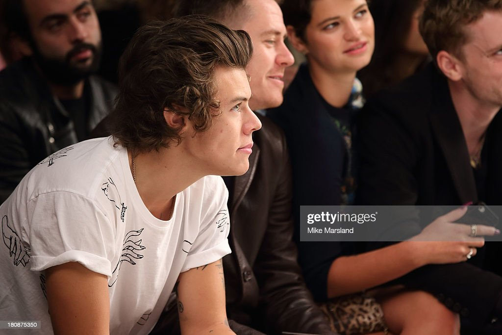 <a gi-track='captionPersonalityLinkClicked' href=/galleries/search?phrase=Harry+Styles&family=editorial&specificpeople=7229830 ng-click='$event.stopPropagation()'>Harry Styles</a> attends the Fashion East show at London Fashion Week SS14 on September 17, 2013 in London, England.