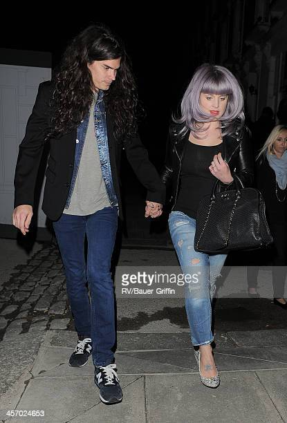 Harry Styles enjoys a night out with his sister Gemma Styles Kelly Osbourne her fiance Matthew Mosshart and Nick Grimshaw in Primrose Hill on...