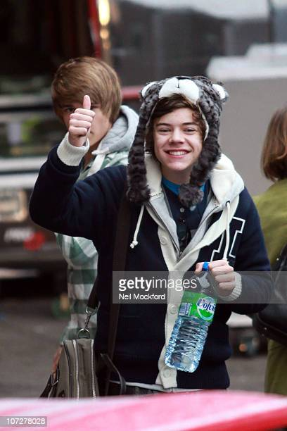 Harry Styles from X Factor group '1 Direction' sighted arriving at Fountain Studios on December 3 2010 in London England