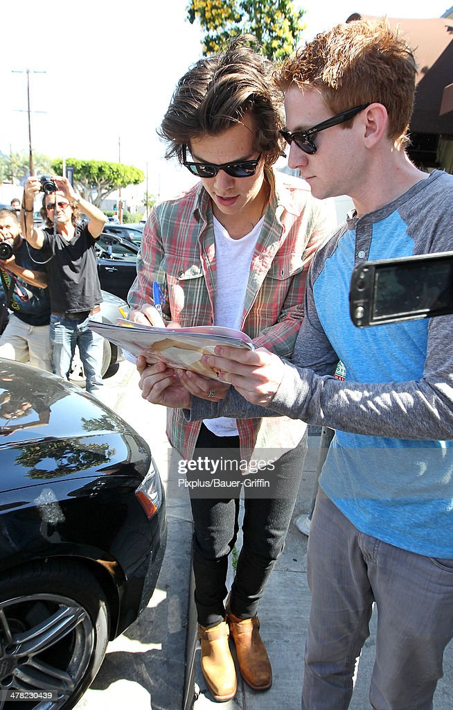 Harry Styles is seen leaving Craig's restaurant on March 12, 2014 in Los Angeles, California.