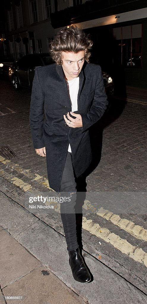 <a gi-track='captionPersonalityLinkClicked' href=/galleries/search?phrase=Harry+Styles&family=editorial&specificpeople=7229830 ng-click='$event.stopPropagation()'>Harry Styles</a> is sighted leaving lulu Restaurant, Mayfair on September 16, 2013 in London, England.