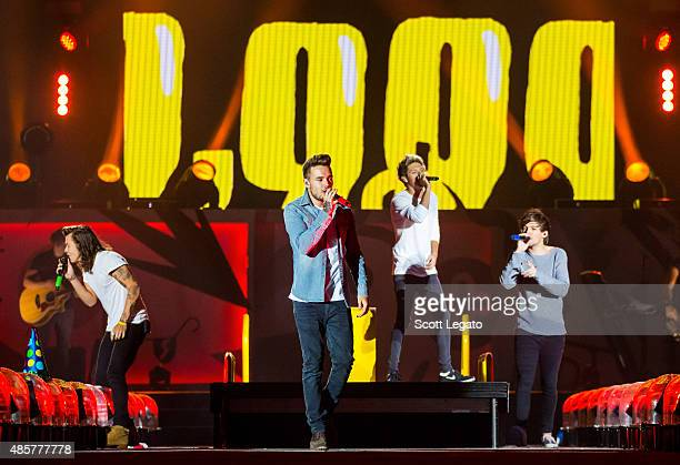 Harry Styles Liam Payne Niall Horan and Louis Tomlinson of One Direction perform in support of the On The Road Again Tour at Ford Field on August 29...