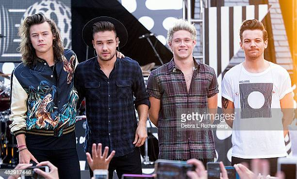 Harry Styles Liam Payne Niall Horan and LouisTomlinson of One Direction perform on 'Good Morning America's Summer Concert Series' at Rumsey Playfield...