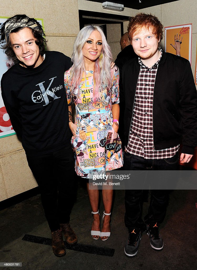 Harry Styles, Lou Teasdale and Ed Sheeran attend the Fudge Urban Lou Teasdale Book Launch party on March 25, 2014 in London, United Kingdom.