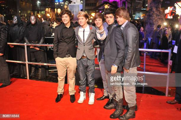 Harry Styles Niall Horan Louis Tomlinson Zayn Malik and Liam Payne of One Direction arriving for the world premiere of Harry Potter and the Deathly...
