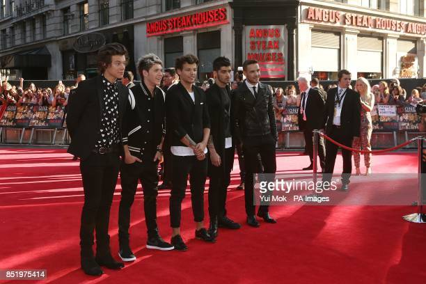 Harry Styles Niall Horan Louis Tomlinson Zayn Malik and Liam Payne of One Direction arriving for the World Premiere of One Direction This Is Us at...