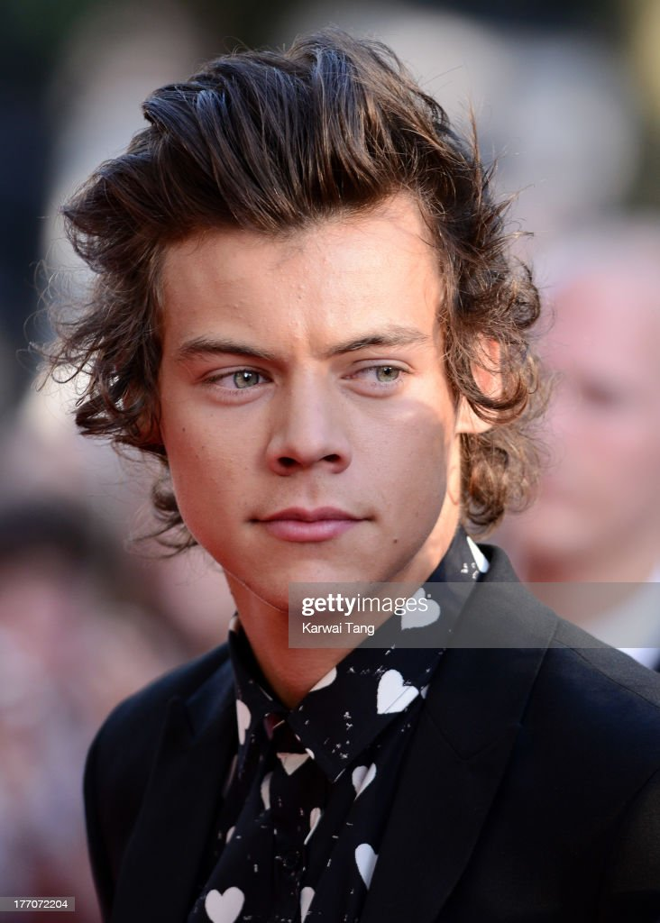 <a gi-track='captionPersonalityLinkClicked' href=/galleries/search?phrase=Harry+Styles&family=editorial&specificpeople=7229830 ng-click='$event.stopPropagation()'>Harry Styles</a> of One Direction attends the World Premiere of 'One Direction: This Is Us' at Empire Leicester Square on August 20, 2013 in London, England.
