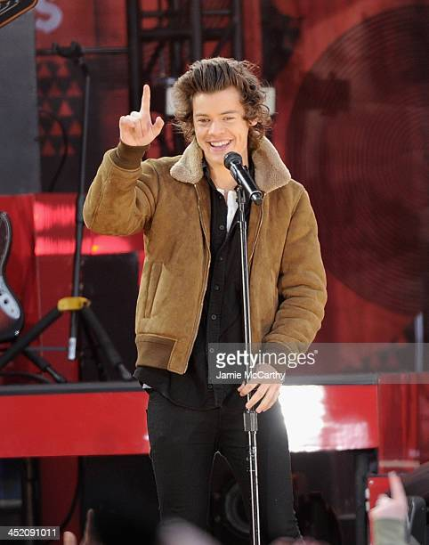 Harry Styles of One Direction performs at Rumsey Playfield on November 26 2013 in New York City