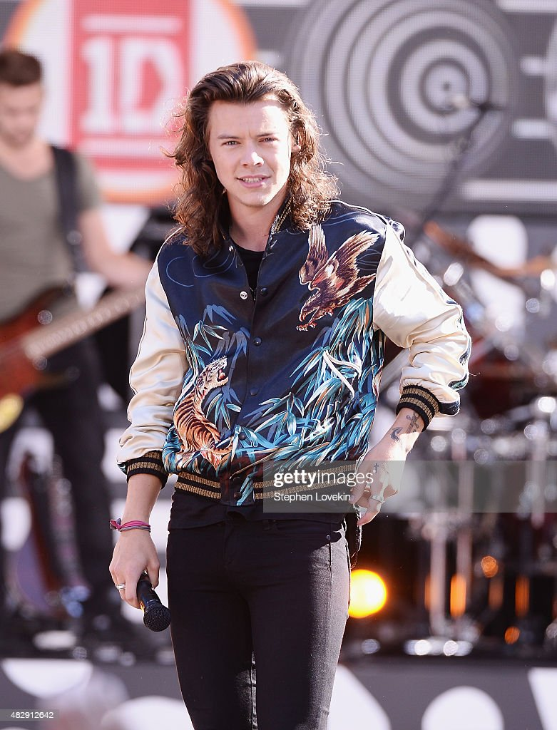 Harry Styles of One Direction performs on ABC's 'Good Morning America' at Rumsey Playfield, Central Park on August 4, 2015 in New York City.