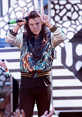 Harry Styles of One Direction performs on 'Good Morning America's Summer Concert Series' at Rumsey Playfield Central Park on August 4 2015 in New...