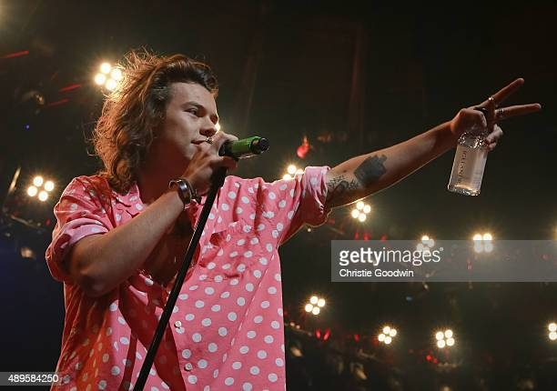 Harry Styles of One Direction performs on stage as part of Apple Music Festival at The Roundhouse on September 22 2015 in London England