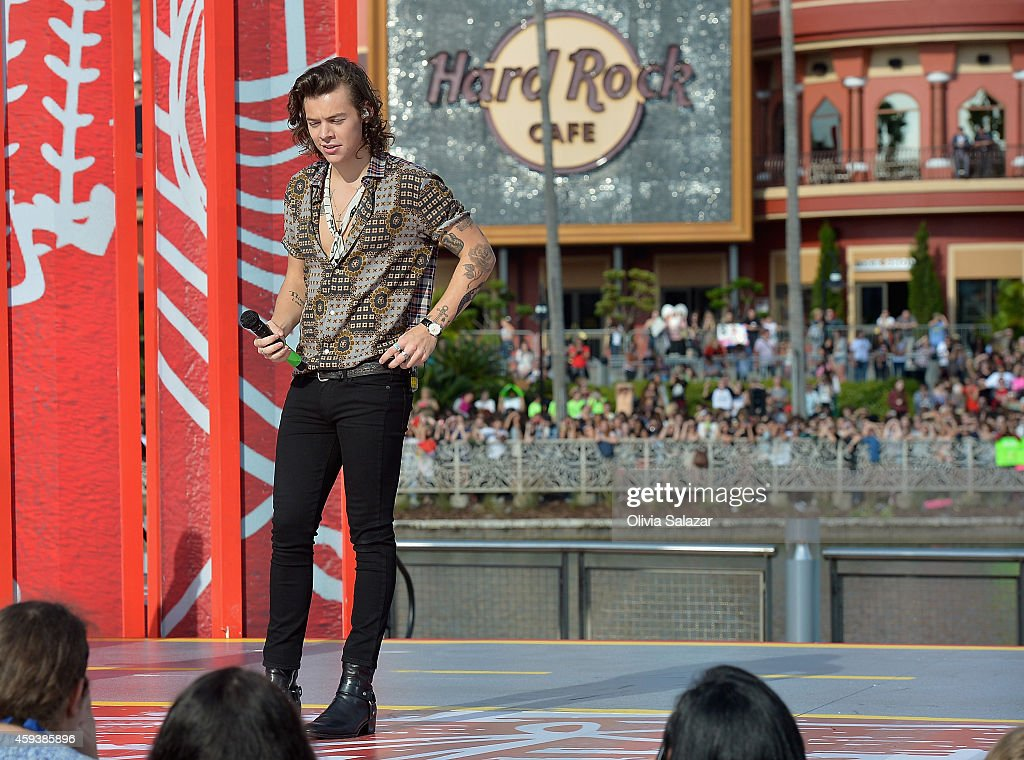 Harry Styles of the band One Direction appear on NBC's Today Show to release their new album 'Four' at Universal City Walk At Universal Orlando on...