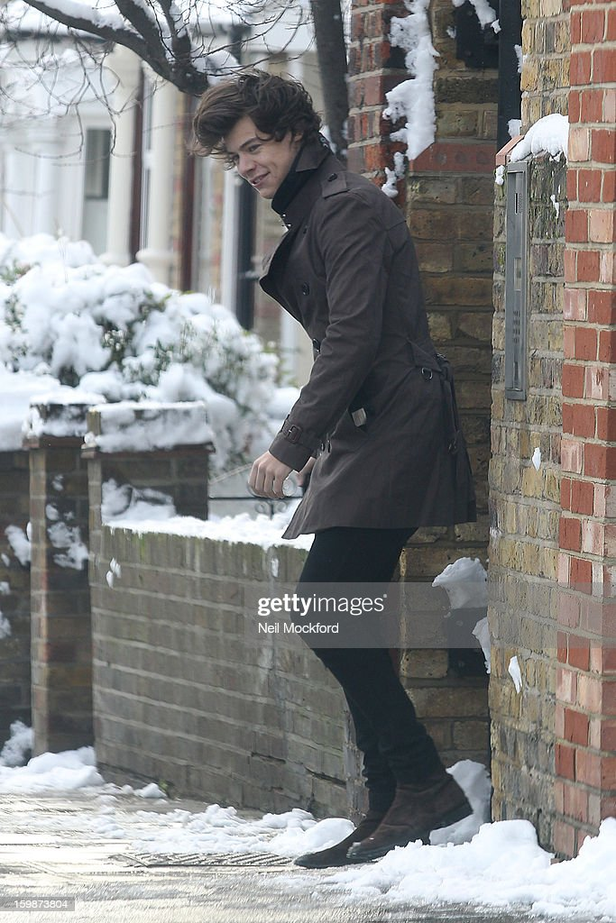 Harry Styles seen leaving a house in North London on January 21, 2013 in London, England.