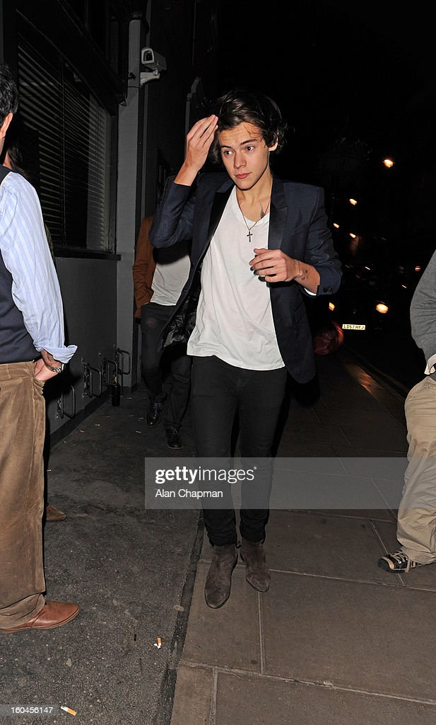 Harry Styles sighting at the Groucho Club on January 31, 2013 in London, England.