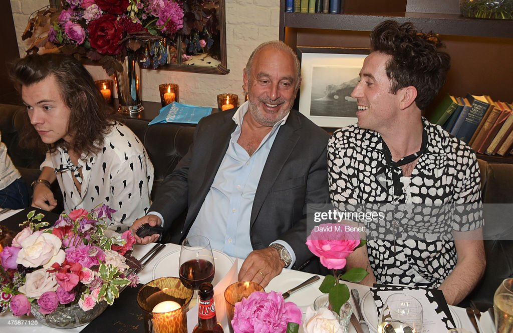 Harry Styles, Sir Philip Green and Nick Grimshaw attend a private dinner celebrating the launch of the Nick Grimshaw for TOPMAN collection at Odette's Primrose Hill on June 4, 2015 in London, England.