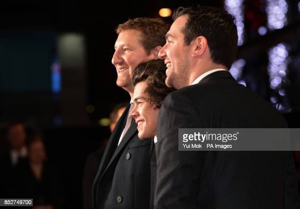 Harry Styles with codirectors Ben Turner and Gabe Turner arriving for the World premiere of documentary film The Class of 92 detailing the rise to...