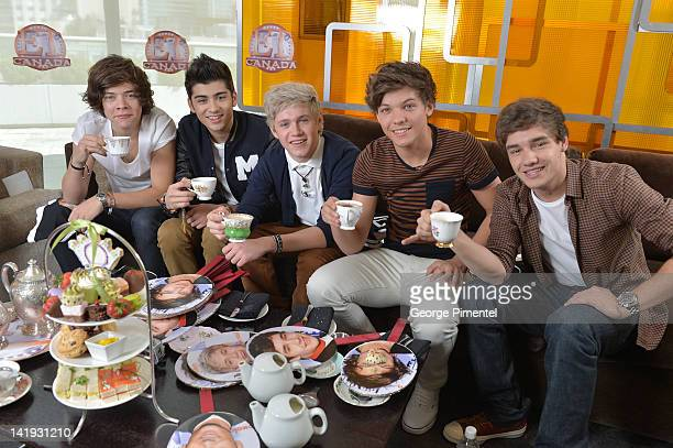 Harry Styles Zayn Mali Niall Horan Louis Tomlinson and Liam Payne from One Direction Visit ET Canada on March 26 2012 in Toronto Canada