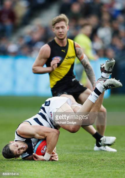 Harry Taylor of the Cats marks the ball during the round 21 AFL match between the Geelong Cats and the Richmond Tigers at Simonds Stadium on August...