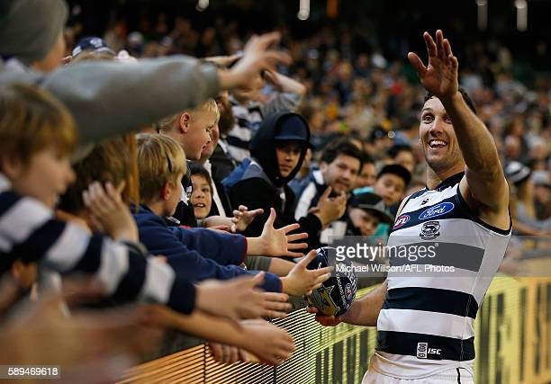 Harry Taylor of the Cats thanks the crowd after his 200th match during the 2016 AFL Round 21 match between the Richmond Tigers and the Geelong Cats...