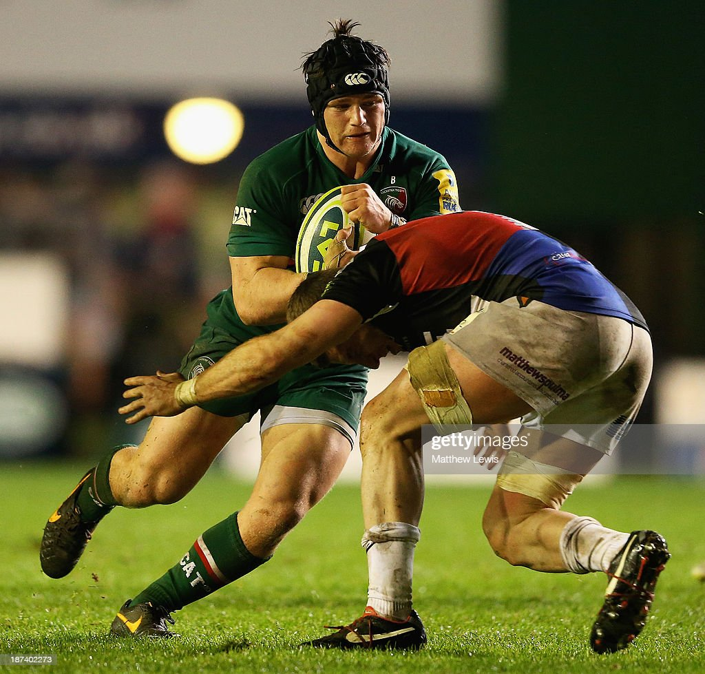 Harry Thacker of the Leicester Tigers in action during the LV=Cup match between Leicester Tigers and Ospreys at Welford Road on November 8, 2013 in Leicester, England.