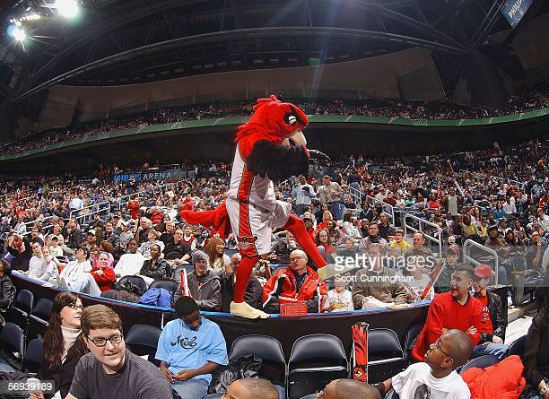 Harry the Hawk entertains fans during the game between the Atlanta Hawks and the Milwaukee Bucks on February 25 2006 at Philips Arena in Atlanta...
