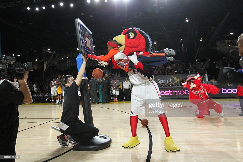 Harry the Hawk Mascot of the Atlanta Hawks performs during the 2013 NBA D-League All-Star Game in Sprint Arena at Jam Session during the NBA All-Star Weekend on February 16, 2013 at the George R. Brown Convention Center in Houston, Texas.