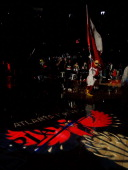 Harry the Hawk runs on the court prior to player introductions of the Atlanta Hawks in Game Four of the Eastern Conference Quarterfinals during the...