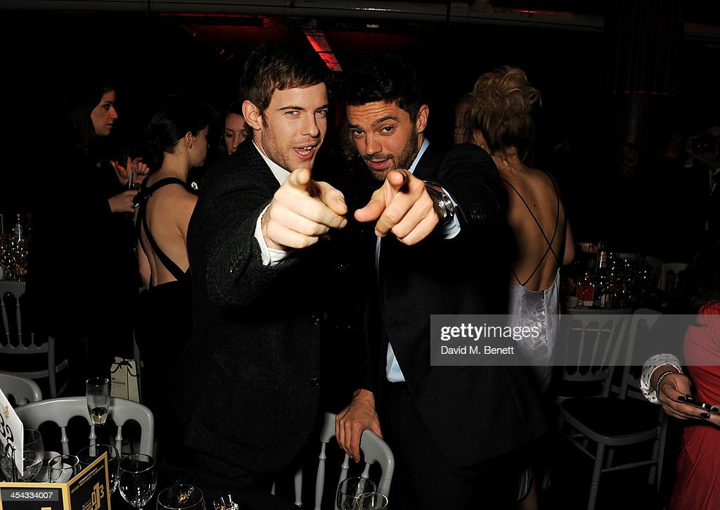 Harry Treadaway (L) and Dominic Cooper attend an after party following the Moet British Independent Film Awards 2013 at Old Billingsgate Market on December 8, 2013 in London, England.
