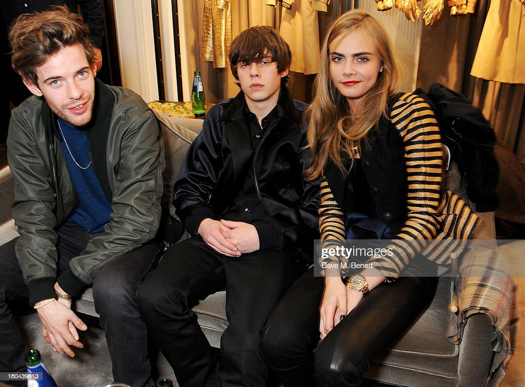 Harry Treadaway, Jake Bugg and Cara Delevingne attend the Burberry Live at 121 Regent Street event on January 31, 2013 in London, England.