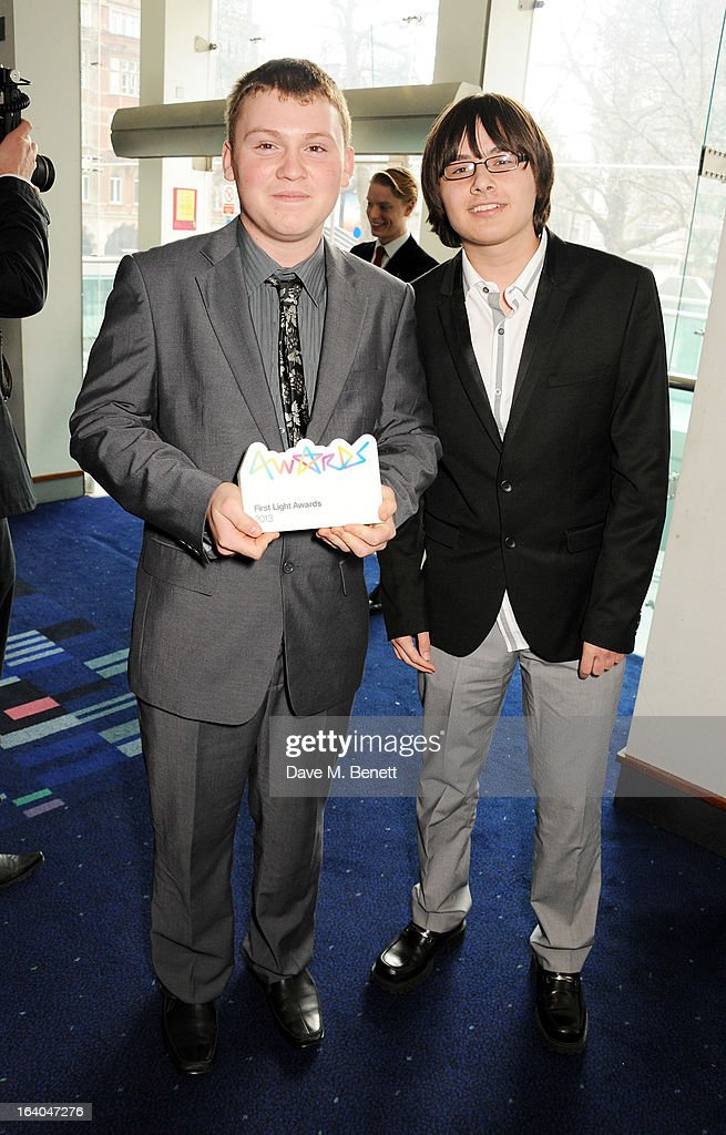 Harry Tugwell and Gary West, winners of the FLIC Award, attend the First Light Awards at Odeon Leicester Square on March 19, 2013 in London, England.