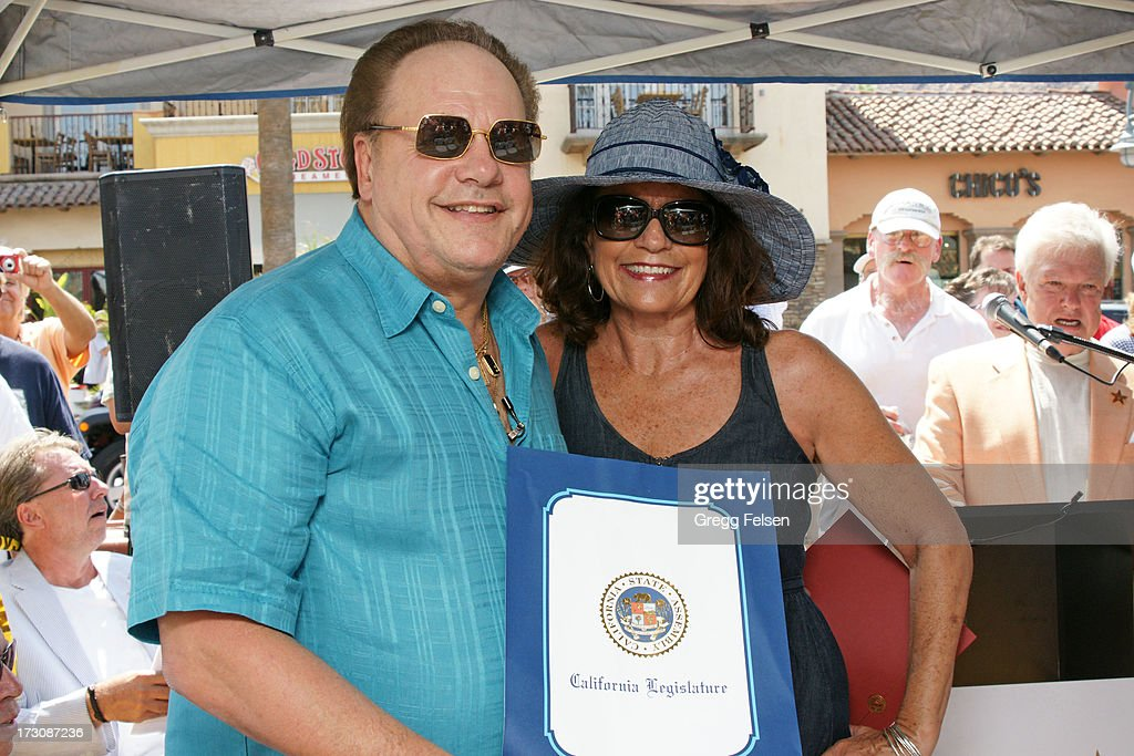 Harry Wayne 'KC' Casey and Secretary of Palm Springs 'Walk of Stars' Kathleen Bennett attend Palm Springs 'Walk of Stars' ceremony for KC And The Sunshine Band on July 6, 2013 in Palm Springs, California.