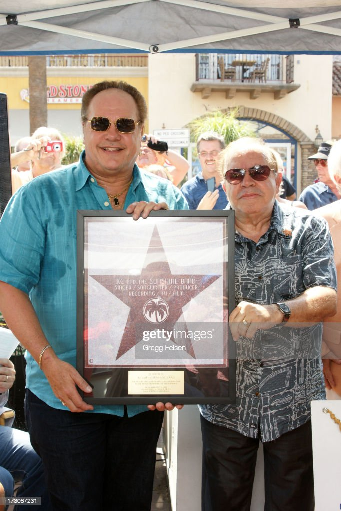 Harry Wayne 'KC' Casey andVice President of Palm Springs 'Walk of Stars' Lewis DaSilva attend Palm Springs 'Walk of Stars' ceremony for KC And The Sunshine Band on July 6, 2013 in Palm Springs, California.