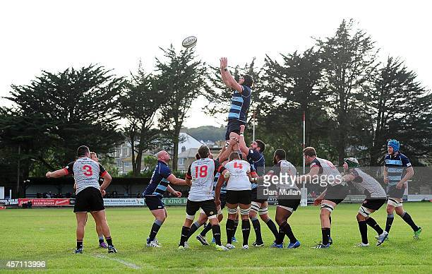 Harry Wells of Bedford Blues claims the lineout during the British Irish Cup match between Cornish Pirates and Bedford Blues at Mennaye Field on...
