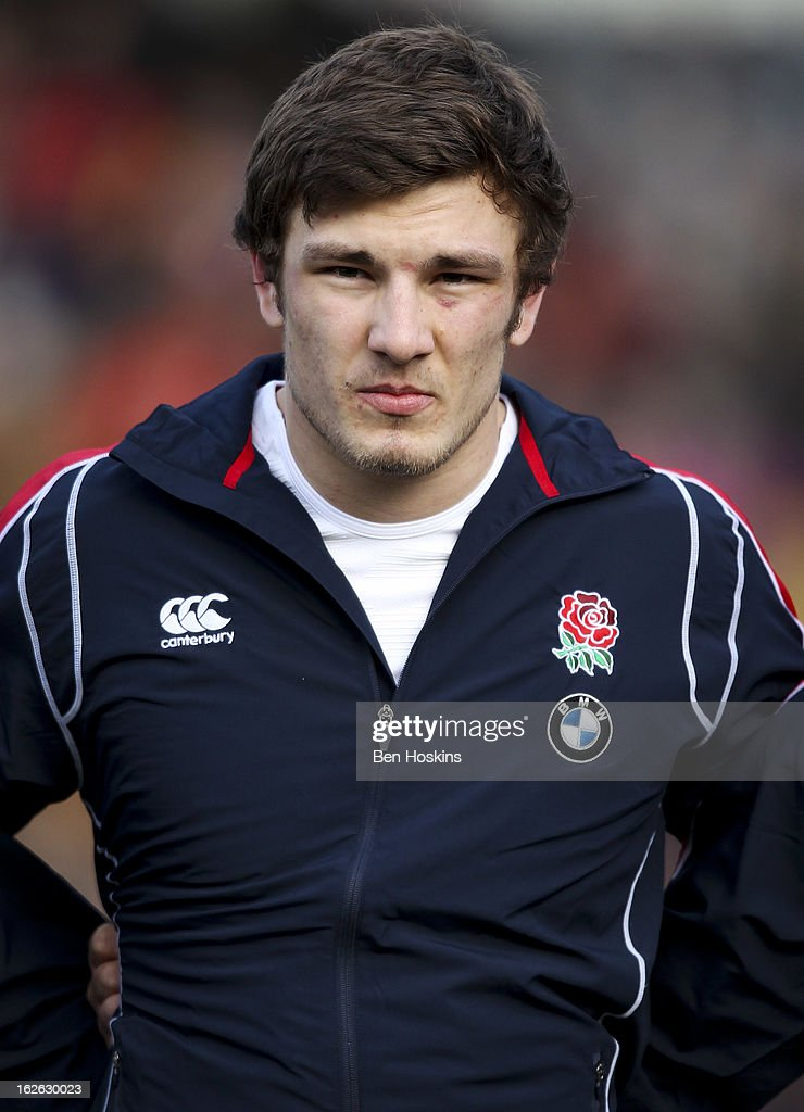 Harry Wells of England sings the national anthem during the U20s RBS Six Nations match between England U20 and France U20 at the Sixways Stadium on February 23, 2013 in Worcester, England.