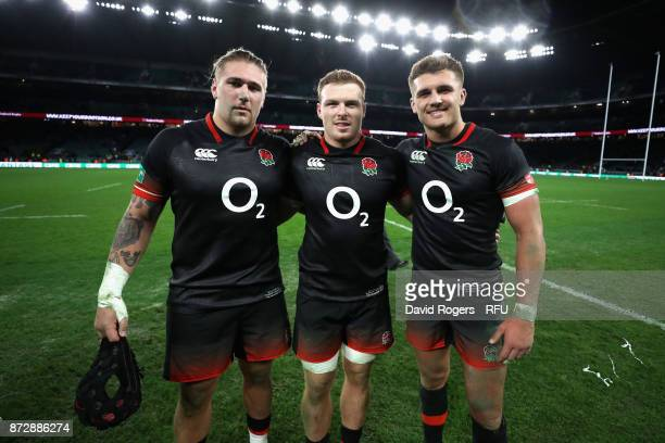 Harry Williams of England Sam Simmonds of England and Henry Slade of England pose for a photograph after during the Old Mutual Wealth Series match...
