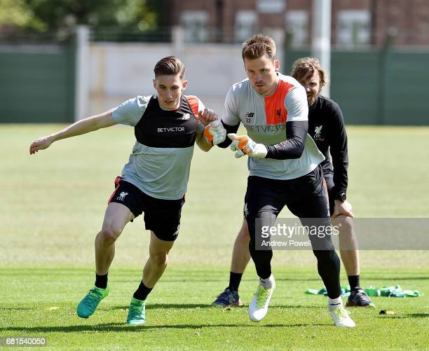 Harry Wilson and Simon Mignolet of Liverpool during a training session at Melwood Training Ground on May 10 2017 in Liverpool England