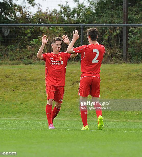 Harry Wilson celebrates his goal with Liverpool team mate Corey Whelan during the Barclays Premier League Under 18 fixture between Liverpool and...