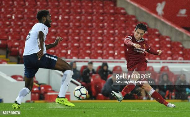 Harry Wilson of Liverpool and Christian Maghoma of Tottenham Hotspur in action during the Liverpool v Tottenham Hotspur Premier League 2 game at...