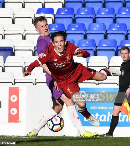 Harry Wilson of Liverpool and Connor LemonheighEvans of Bristol City in action during the U23 Premier League Cup between Liverpool and Bristol City...