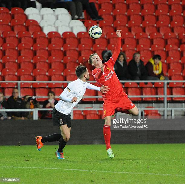 Harry Wilson of Liverpool and Jack Waters of Bradford City in action during the FA Youth Cup 3rd Round fixture between Liverpool and Bradford City at...