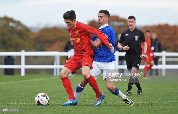 Harry Wilson of Liverpool and Joe Williams of Everton in action during the Barclays Premier League Under 18 fixture between Everton and Liverpool at...