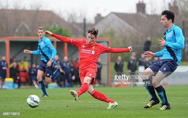 Harry Wilson of Liverpool and Liam Edwards of Stoke City in action during the Barclays Premier League Under 18 fixture between Liverpool and Stoke...