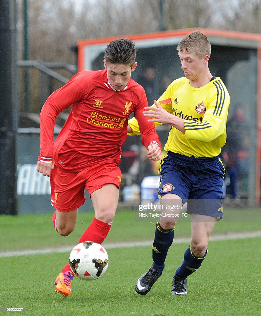 Harry Wilson of Liverpool and Thomas Robson of Sunderland in action during the Barclays Premier League Under 18 fixture between Liverpool and Sunderland at the Liverpool FC Academy on February 15 in Kirkby, England.