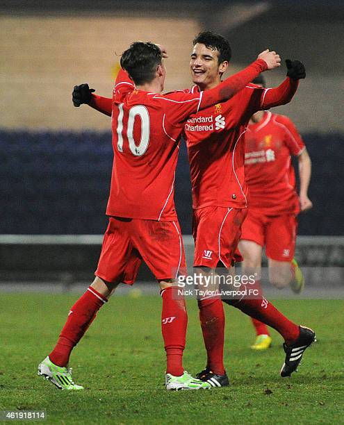 Harry Wilson of Liverpool celebrates his second goal of the game wit team mate Pedro Chirivella during the FA Youth Cup 4th Round fixture between...