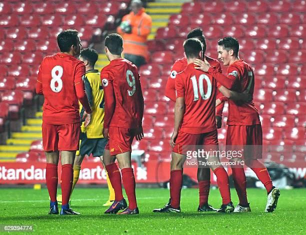Harry Wilson of Liverpool celebrates scoring his second goal with team mates Pedro Chirivella Brooks Lennon Cameron Brannagan and Sheyi Ojo during...