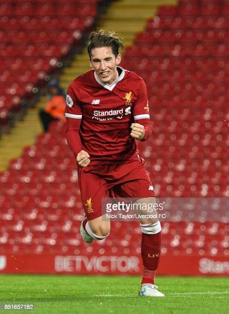 Harry Wilson of Liverpool celebrates scoring his third goal during the Liverpool v Tottenham Hotspur Premier League 2 game at Anfield on September 22...